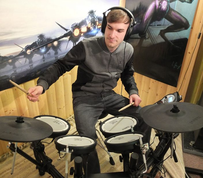 Raphael Bauer plays on his drums