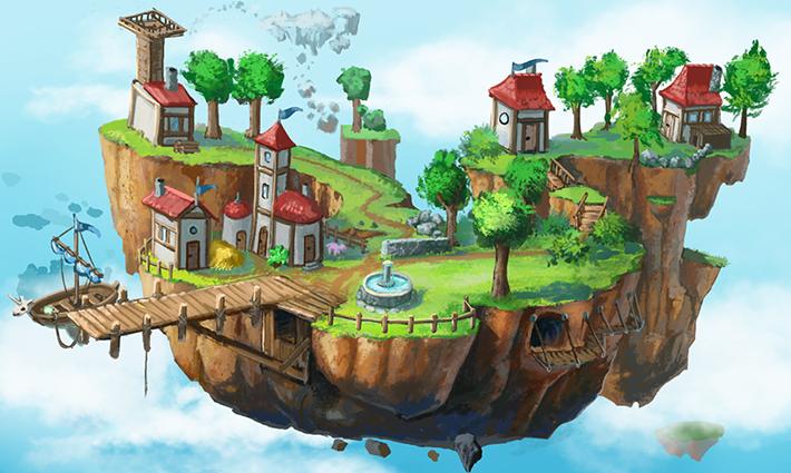 green happy fantasy island